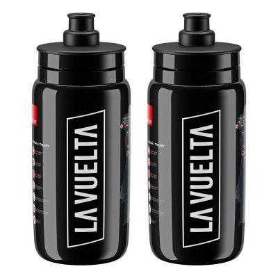 Elite Fly Cycling Water Bottles La Vuelta - Black, 550ml (2 Pack)