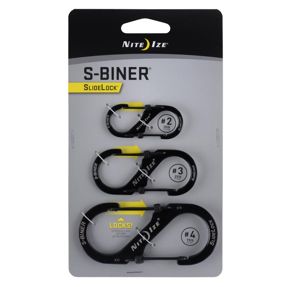 #3 /& #4 Nite Ize S-Biner Standard Triple Pack Stainless Steel Sizes #2