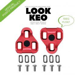 Positz ARC Look KEO Road Bike Cleats – 7deg Float, Red (INFOGRAPHIC)