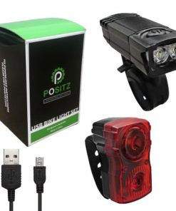 Positz Compact Watts USB Rechargeable Front and Rear Bike Lights Combo Set