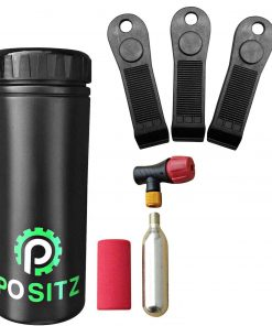 Positz Storage Bottle with CO2 Inflator Set and Tyre Levers Combo Pack
