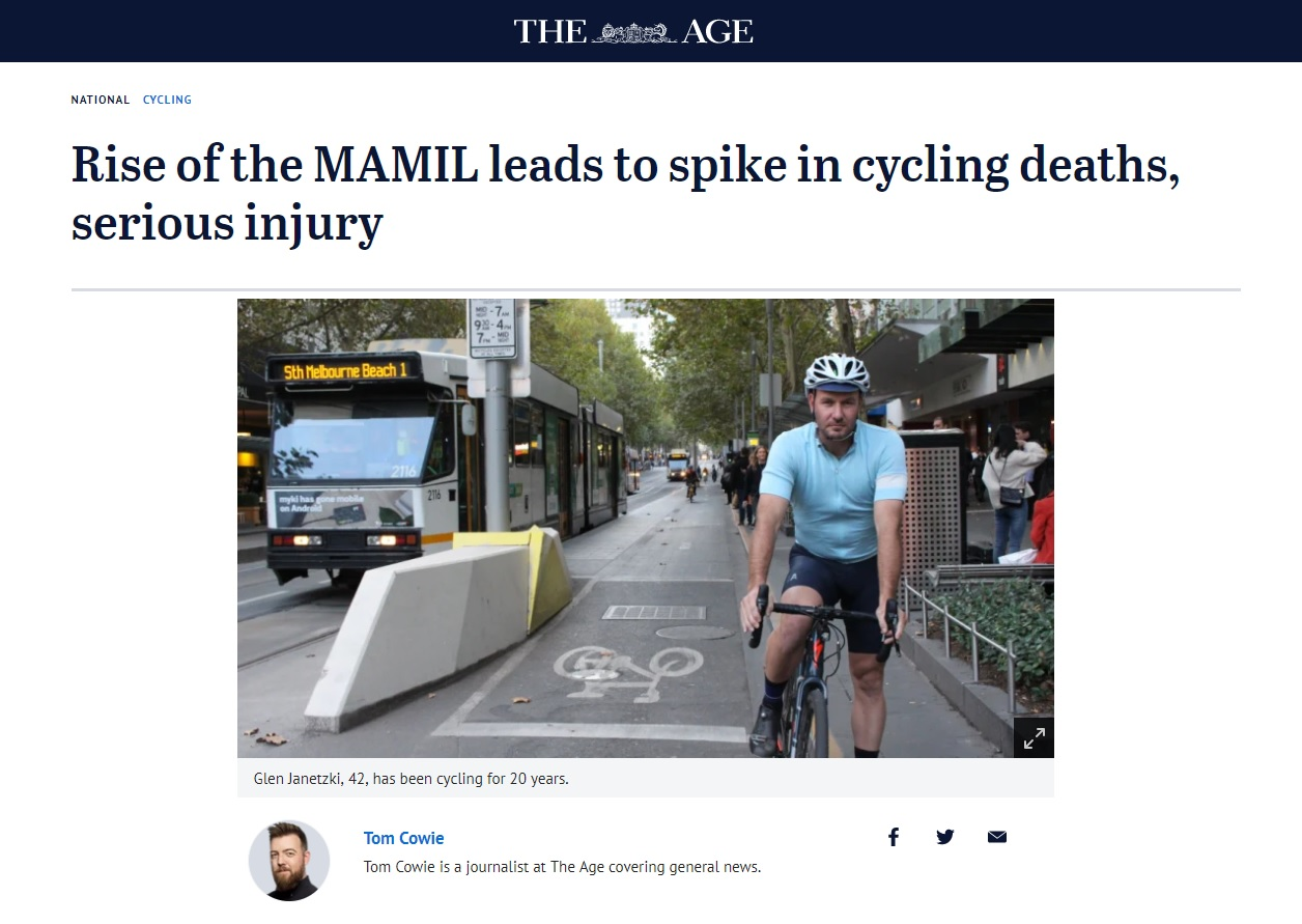 Rise of the MAMIL leads to spike in cycling deaths, serious injury