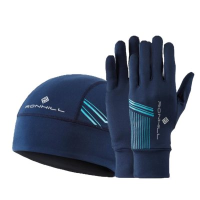 Ron Hill Beanie and Glove Set - Deep Navy_Spa Green