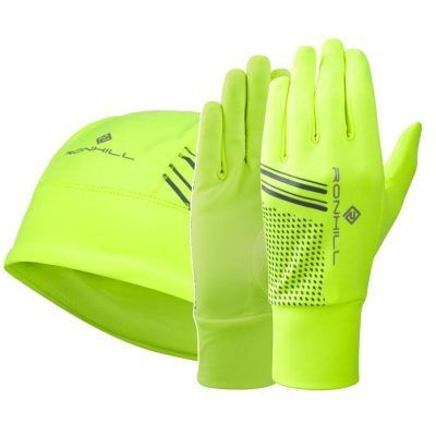 Ron Hill Beanie and Glove Set - Yel Fluo_Black_ML